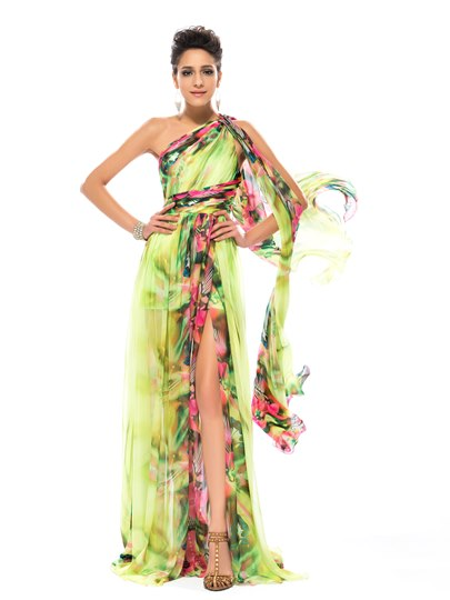 Floral Printed Split-Front One-Shoulder Prom Dress