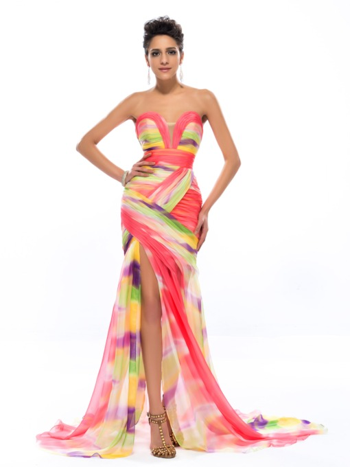 Sweetheart Pleats Split-Front Printing Evening Dress