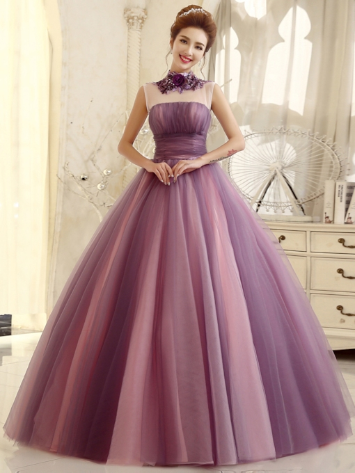Pure Color A-line High Neck Flower Floor-length Quinceanera Dress