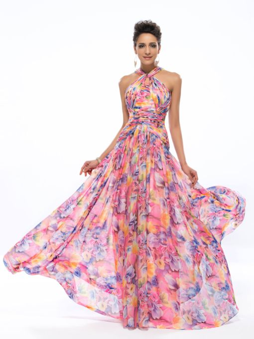 A-line Halter Pleats Floral Printed Prom Dress Designed Independently