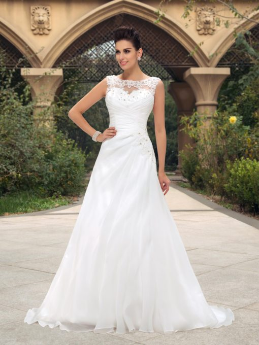 Beaded Appliques Bateau Neck Wedding Dress