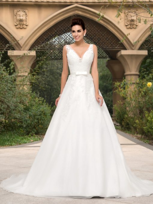 A-line Deep V-Neck Appliques Court Train Wedding Dress