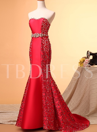 Mermaid Sweetheart Hollow-Out Rhinestone Evening Dress