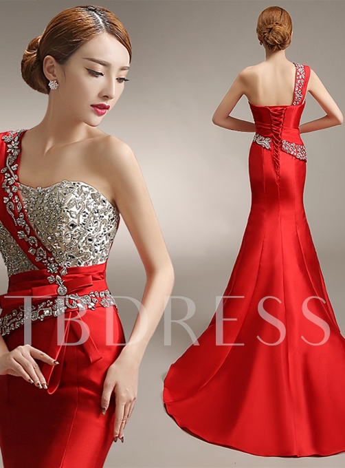 Mermaid Bowknot One-Shoulder Crystal Court Train Evening Dress