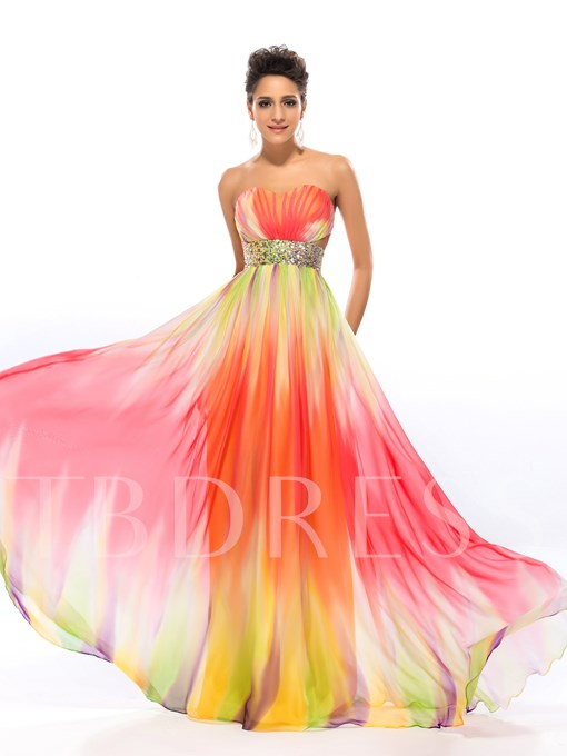 Sweetheart Pattern BeadingsLong Prom Dress