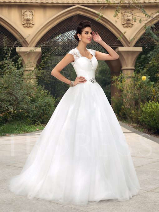 A-Line Sweetheart Beading Appliques Wedding Dress