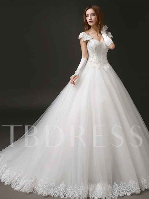 Beaded Bodice Lace Ball Gown Wedding Dress