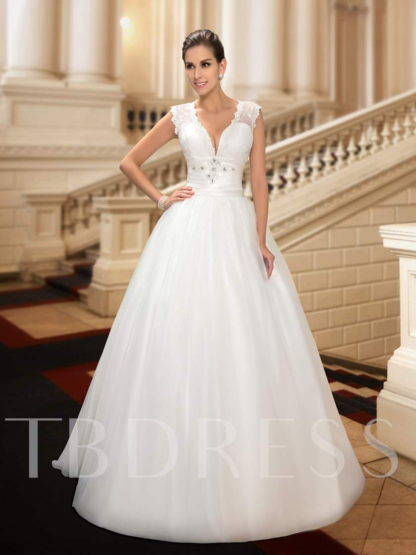 Deep V-Neck Button Beading Lace Wedding Dress