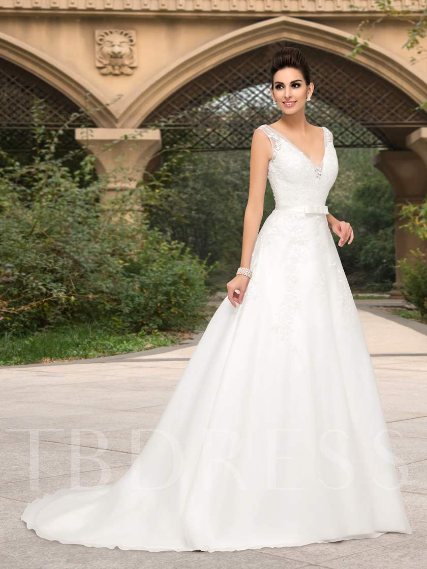 Deep V-Neck Appliques Court Train Wedding Dress