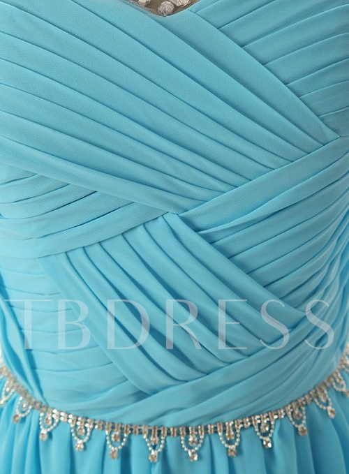 Scoop Neckline Beading Ruched A-Line Sweep Train Evening Dress