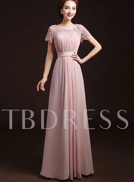 A-Line Scoop Short Sleeves Pleats Bridesmaid Dress