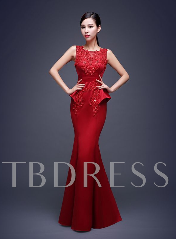 Mermaid Bateau Neck Appliques Floor-length Evening Dress