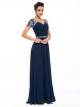 Ruched Beaded V-Neck Short Sleeve Mother of the Bride Dress