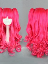 Hallowen Lolita Style Pink Color Cosplay Wavy Synthetic Hair Capless Wigs for Costume Cosplay 28inches