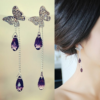 Purple Rhinestone Water Shaped Tassel Earrings