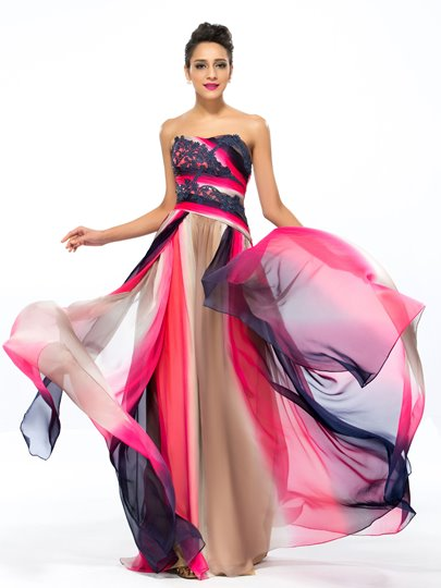 A-Line Printing Floor-Length Evening Dress