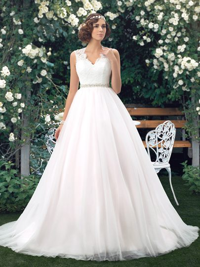 V-Neck Lace Back Floor Length A-Line Wedding Dress