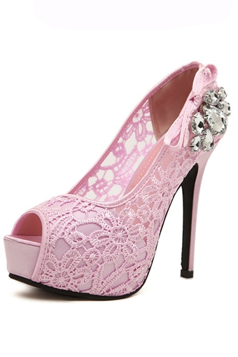 Rhinestone Decorated Hollow Platform Pumps
