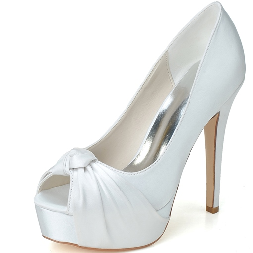 Stain Stiletto Heel Peep Toe Women's Wedding Shoes
