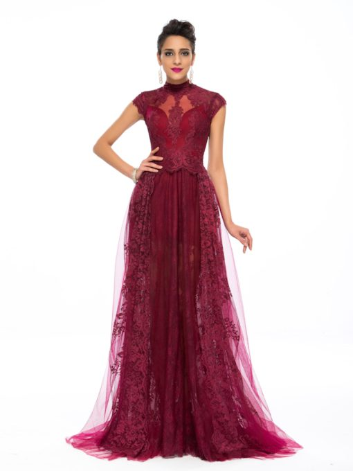 A-Line High Neck Appliques Floor-Length Evening Dress