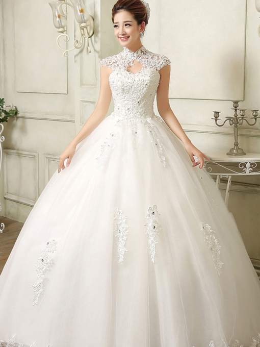 High Neck Ball Gown Applique Wedding Dress