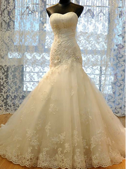 Strapless Appliques Beading Mermaid Wedding Dress