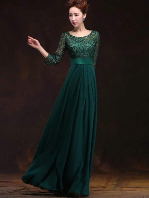 A-Line Scoop Pleats Sashes Lace Evening Dress