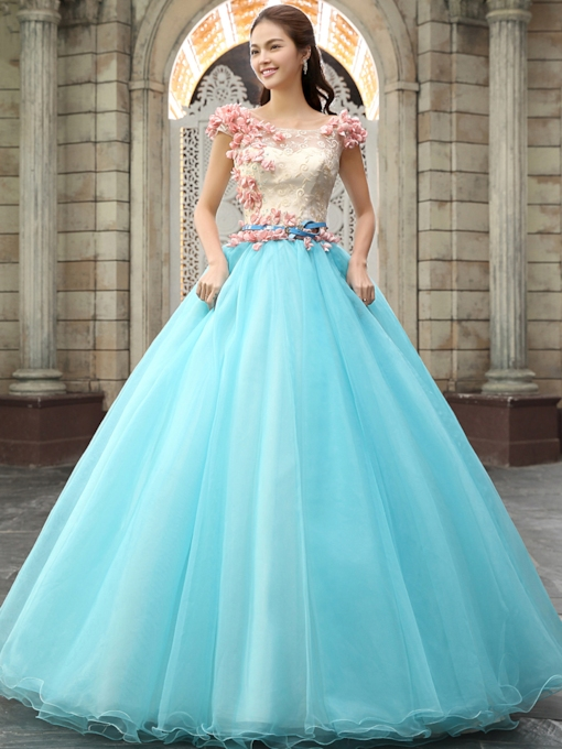 Cap Sleeves 3D Flowers Blue Quinceanera Dress
