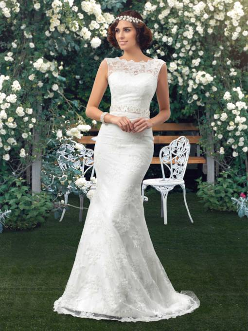 Bateau Neck Sashes Mermaid Lace Wedding Dress