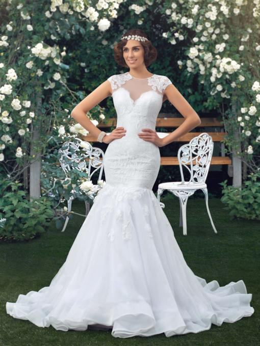 Jewel Neck Short Sleeve Sheer Back Lace Mermaid Wedding Dress