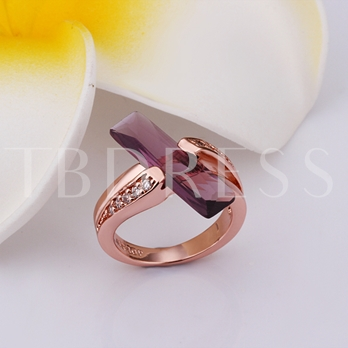 Geometric-Shaped Pendant Rhinestone Alloy Ring