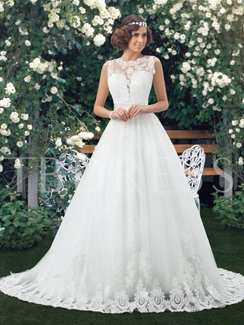 Appliques Jewel Neck Low Back Wedding Dress