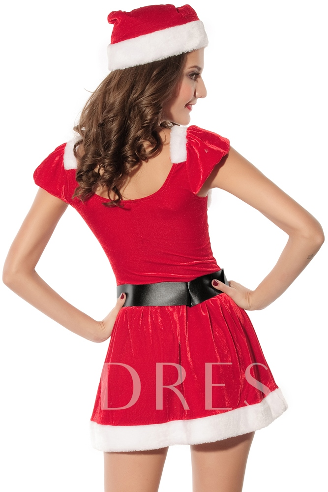 Red Belt-Decorated Pleated Christmas Costume