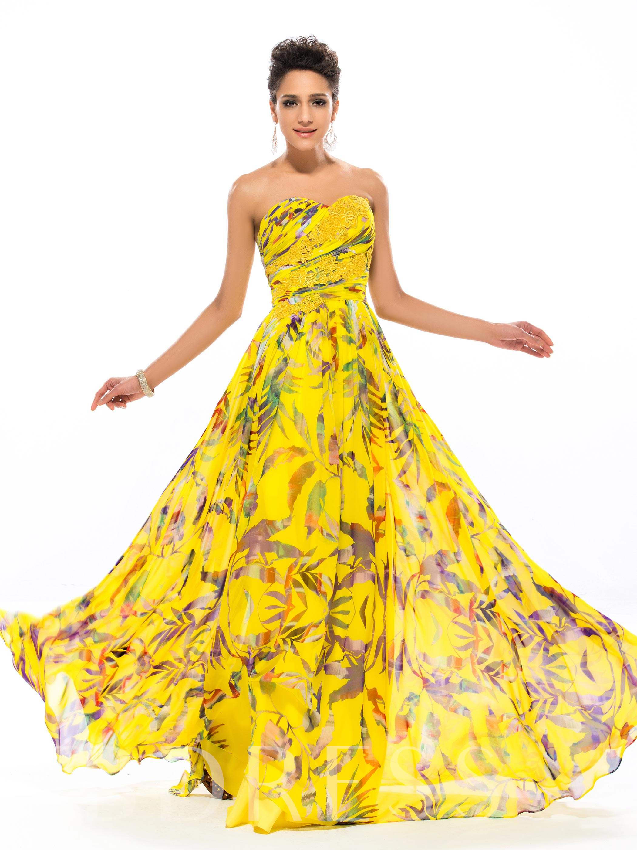 Sweetheart Floral Printing Appliques Long Prom Dress, Spring,Summer,Fall, 11179595