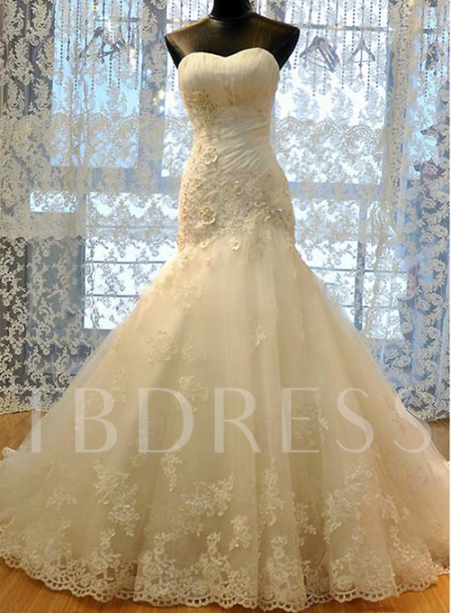 Sweetheart Lace Tulle Mermaid Wedding Dress
