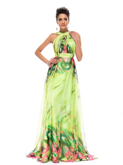 Halter Printed Backless A-Line Long Evening Dress
