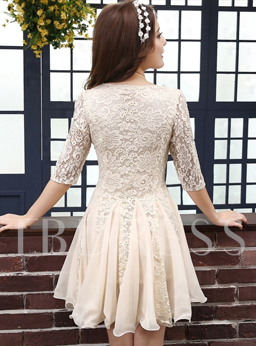Round Neck A-line Lace Short Cocktail Dress