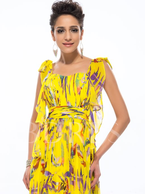 A-Line Square Floral Printing Long Prom Dress