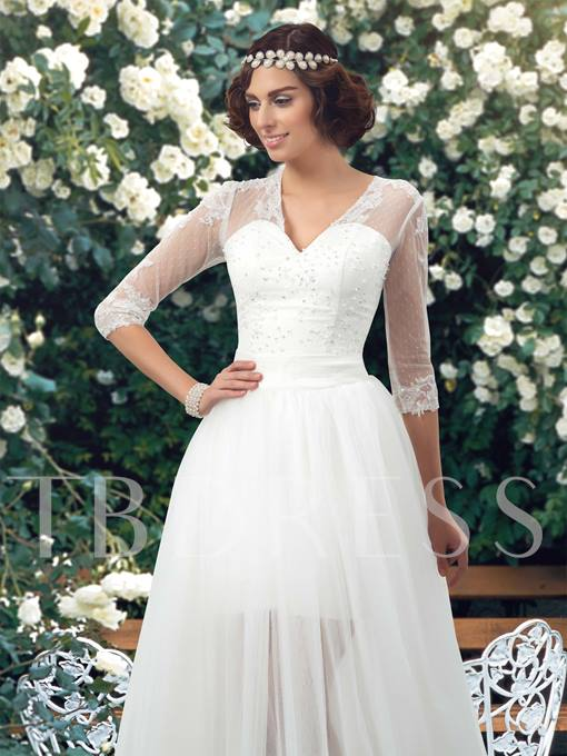 Sleeves Wedding Dress with Detachable Skirt Overlay