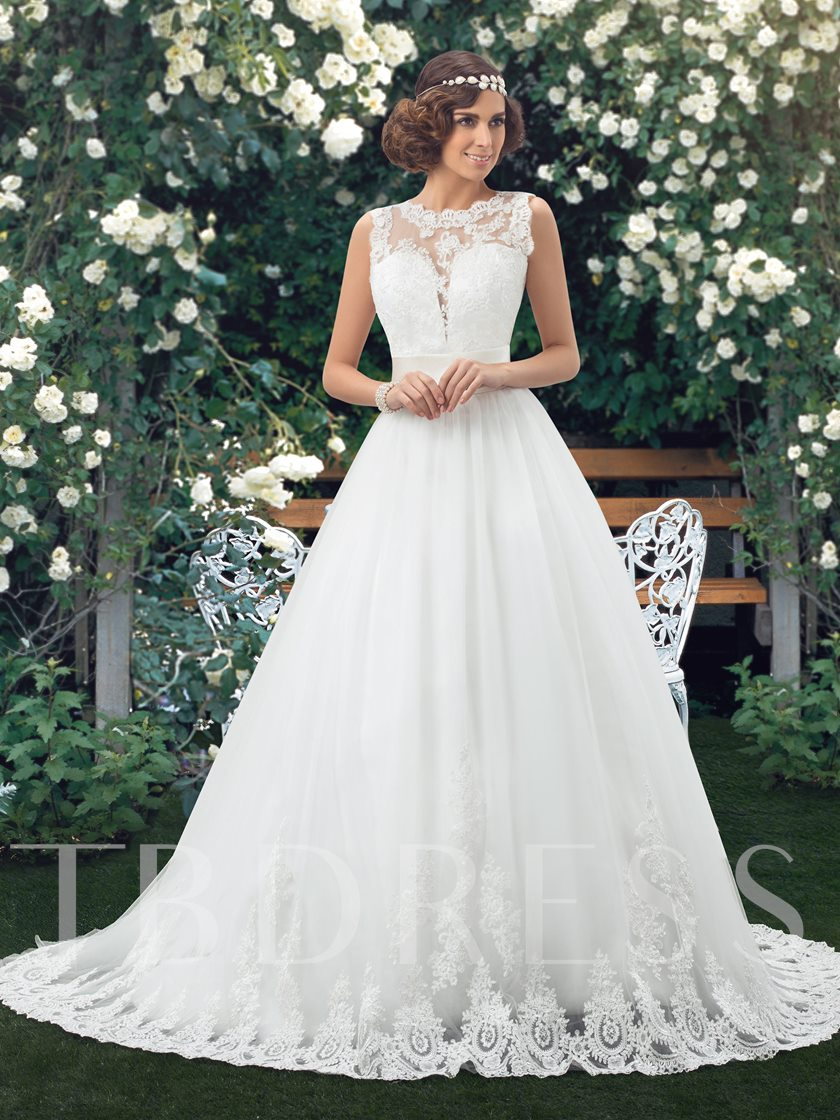 Appliques Jewel Neck Low Back Wedding Dress - Tbdress.com