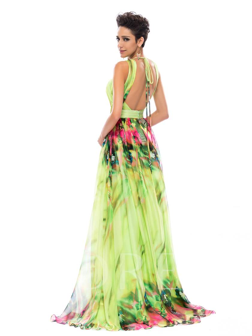 Halter Pleats Backless Print Prom Dress