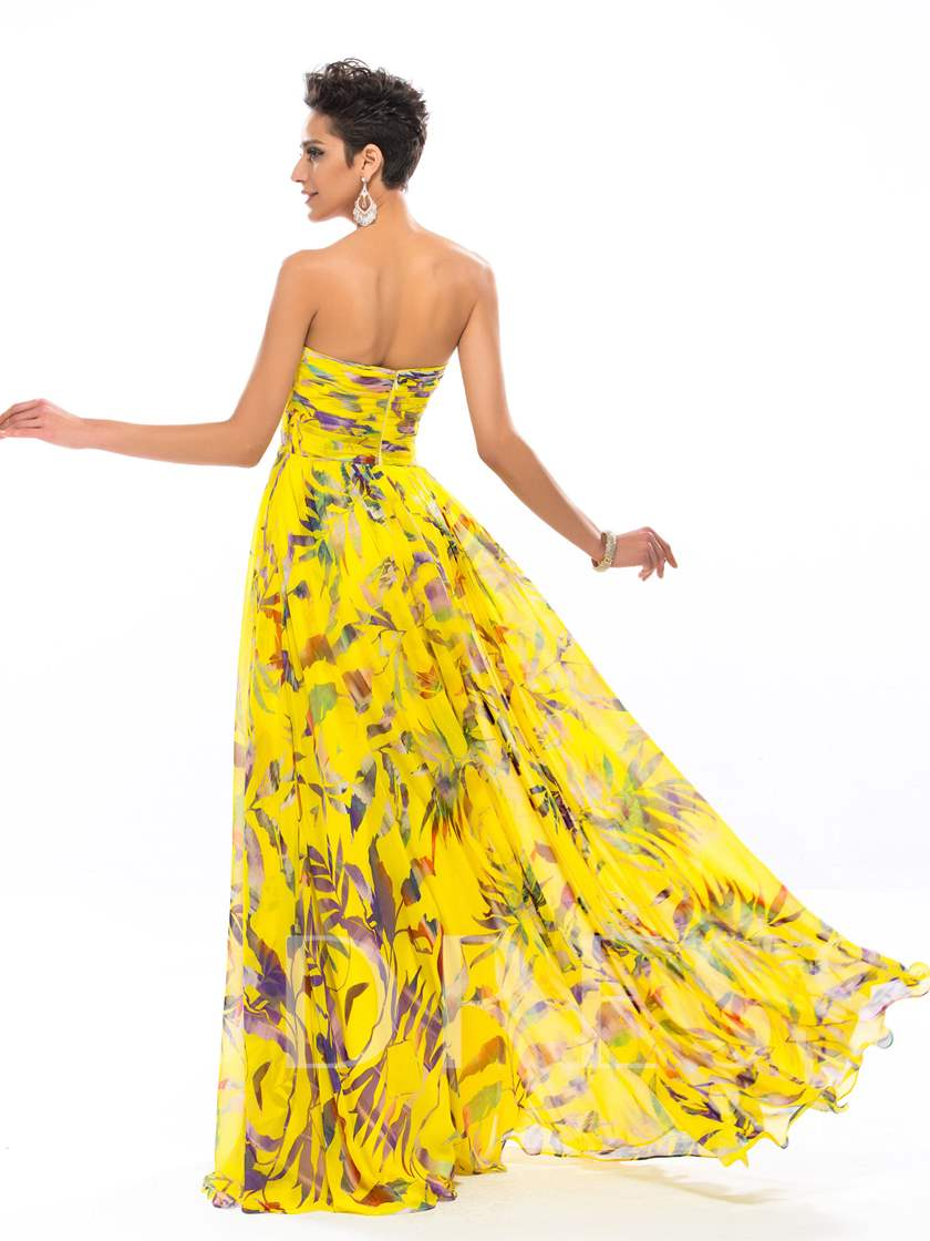 Sweetheart Floral Printing Appliques Long Prom Dress