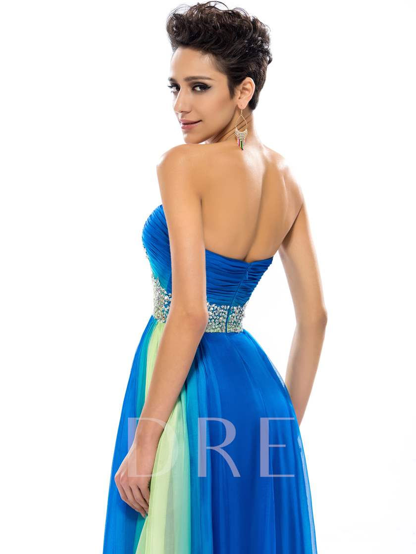 Sweetheart Ruffles Beadings A-Line Prom Dress