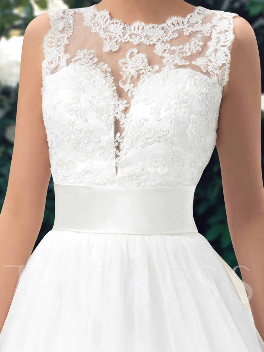 Straps Appliques Sashes Low Back Wedding Dress