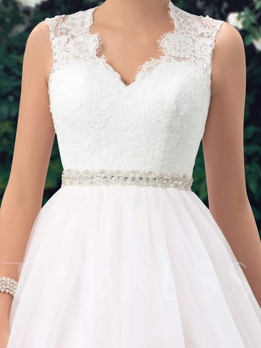 Beaded Belt Button Lace Wedding Dress