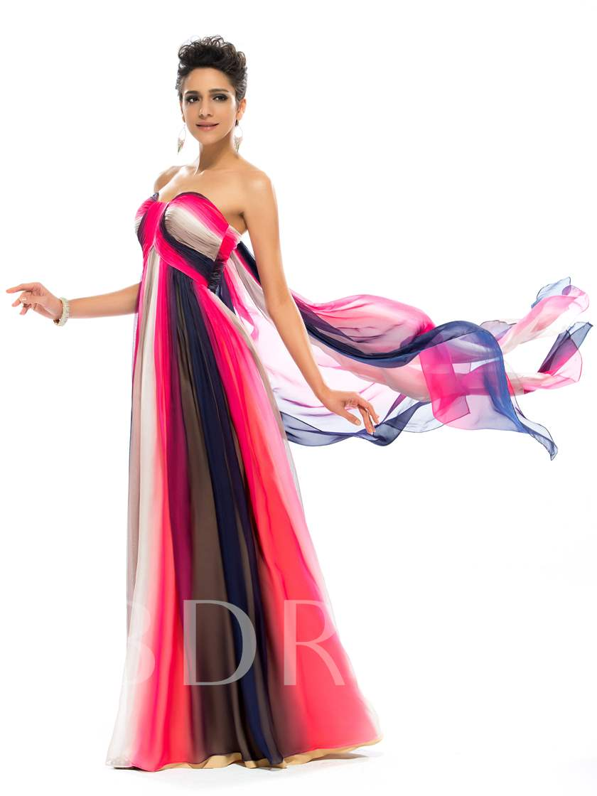 A-Line Sweetheart Contrast Color Evening Dress Designed Independently