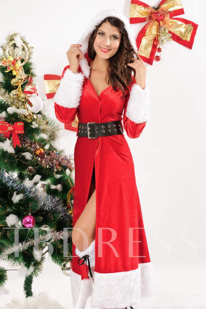 Red Belt-Decorated Christmas Costume