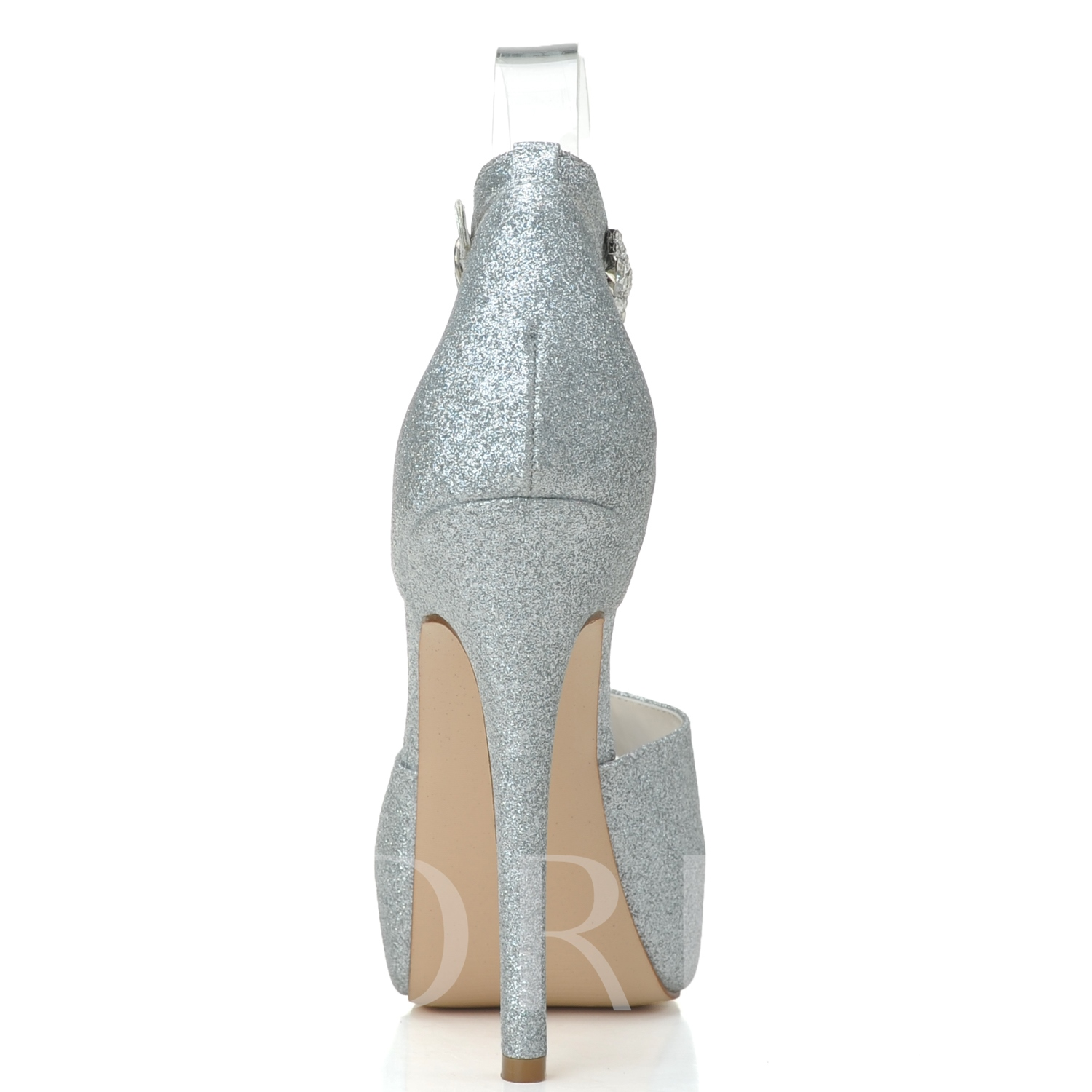 Ankle Buckle Sequins Peep toe Stiletto Heel Women's Wedding Shoes
