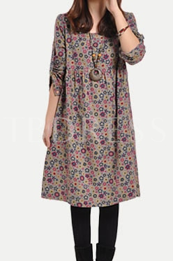 Buy Floral Print Loose Long Sleeve Women's Dress, Maroths, Spring,Fall, 11181694 for $17.99 in TBDress store