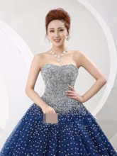 Strapless Sequins Beading Lace-Up Quinceanera Dress